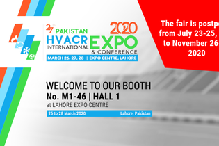 PAKISTAN HVACR INTERNATIONAL EXPO & CONFERENCE 2020 is postponed to November 26-28, 2020