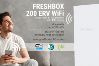 FRESHBOX 200 ERV WiFi: energy efficiency meets high-tech