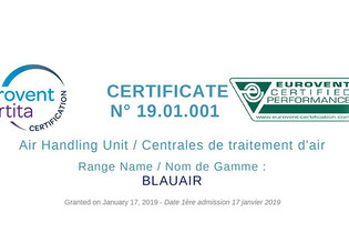 BlauAIR certified by Eurovent